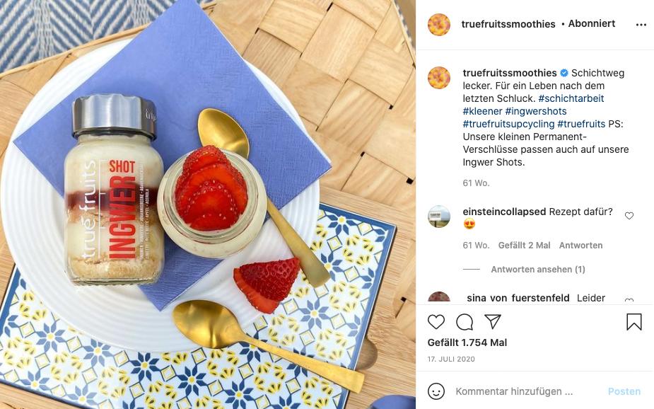 Truefruits Instagram Account Screenshot